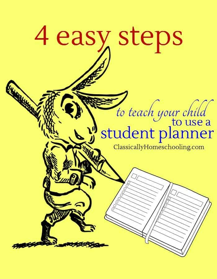 Are you struggling each week to plan your homeschool? Don't do that. Instead teach your kids to plan their own week with these 4 easy steps!