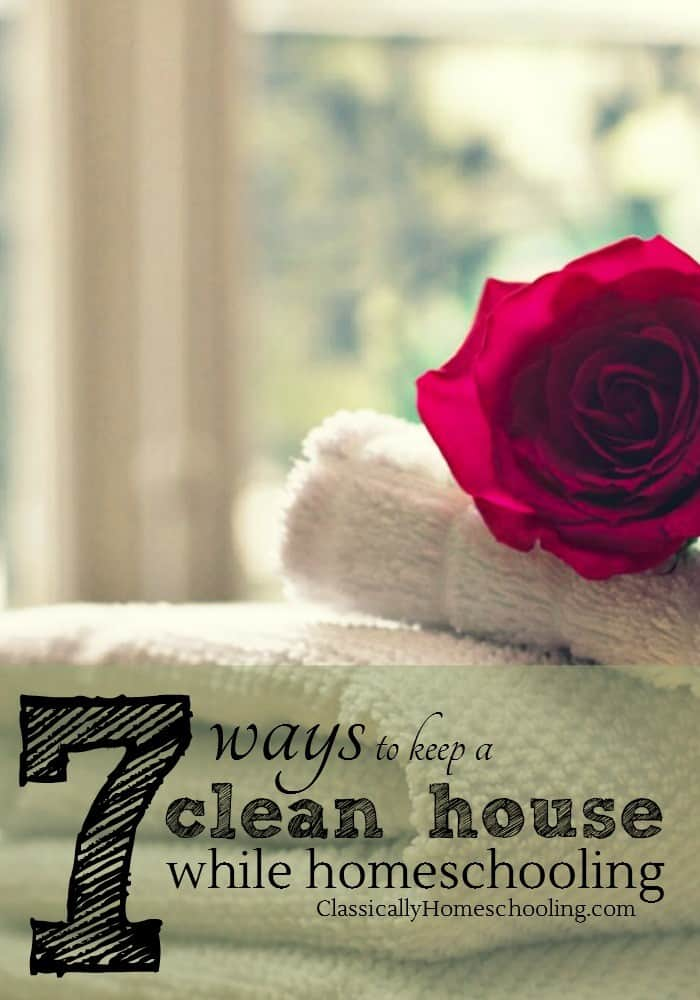 "One of the questions that new homeschoolers, and veteran homeschoolers for that matter, invariably ask is, ""How do you keep a clean house while homeschooling?"""