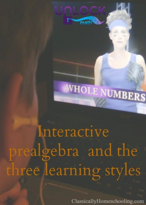 Unlock Math's interactive prealgebra program uses the three learning styles to teach math