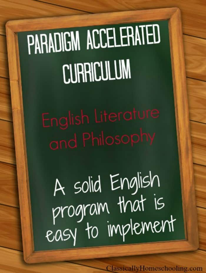 paradigm accelerated curriculum english literature and philosophy