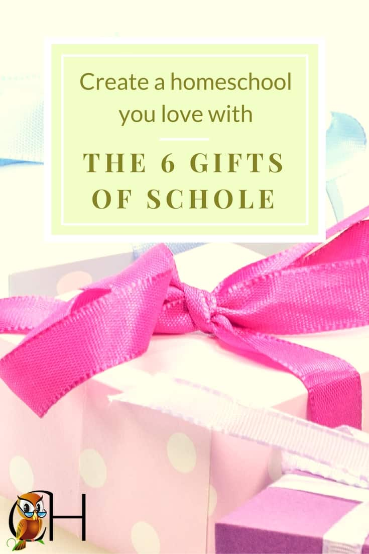 Do you struggle trying to give your kids the perfect homeschool? Don't! Instead concentrate on receiving the 6 gifts of scholé and creating a homeschool you love. Find out how by clicking!