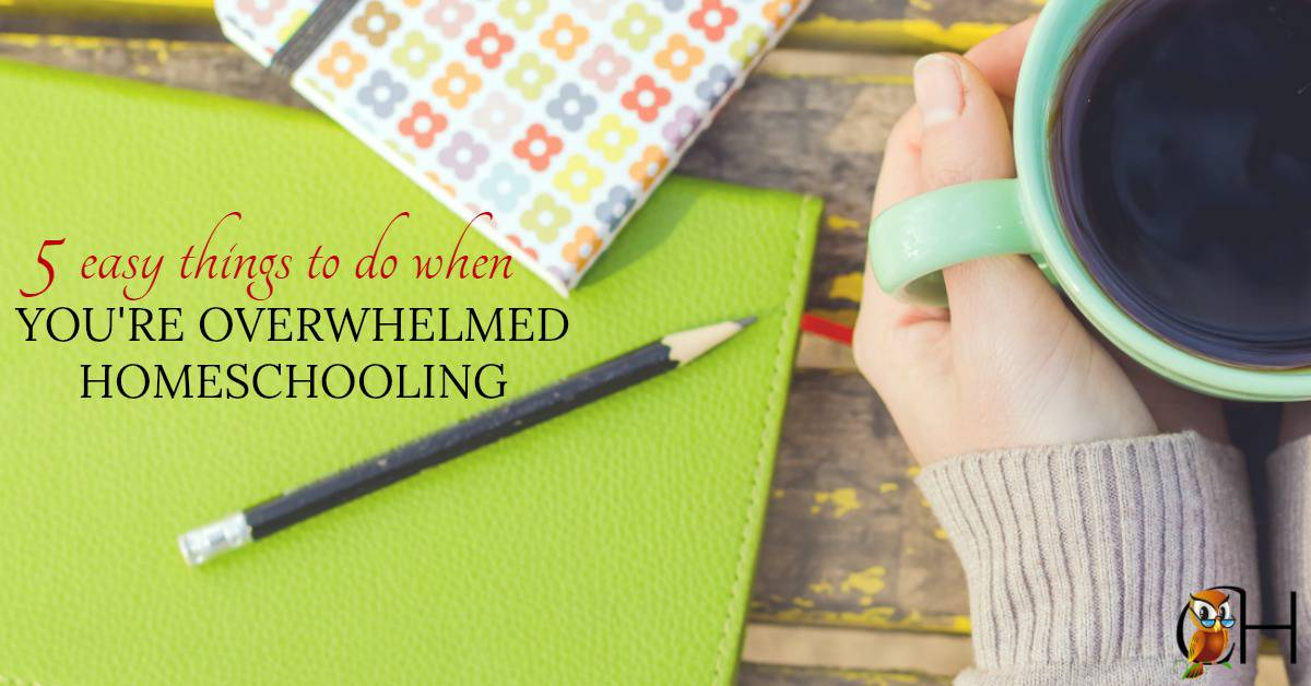 Are you overwhelmed homeschooling? Burnt out and exhausted? Here are 5 easy solutions when you're overwhelmed homeschooling.