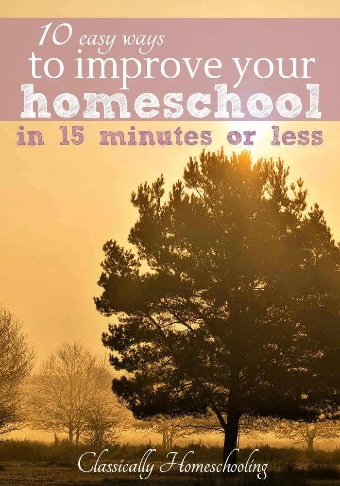 Are you looking for easy ways to improve your homeschool? Little tasks that can get done quickly in 15 minutes or less? Check out this list!