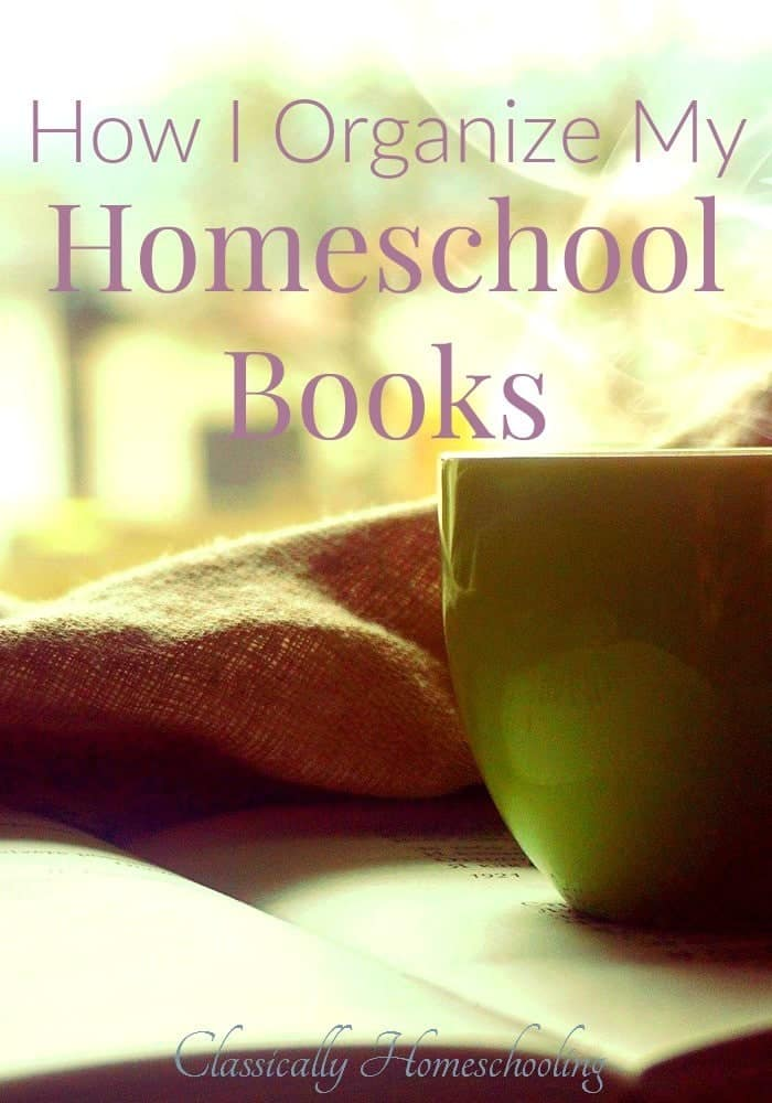 My simple system of organization allows me to find all my needed homeschool books quickly and efficiently.