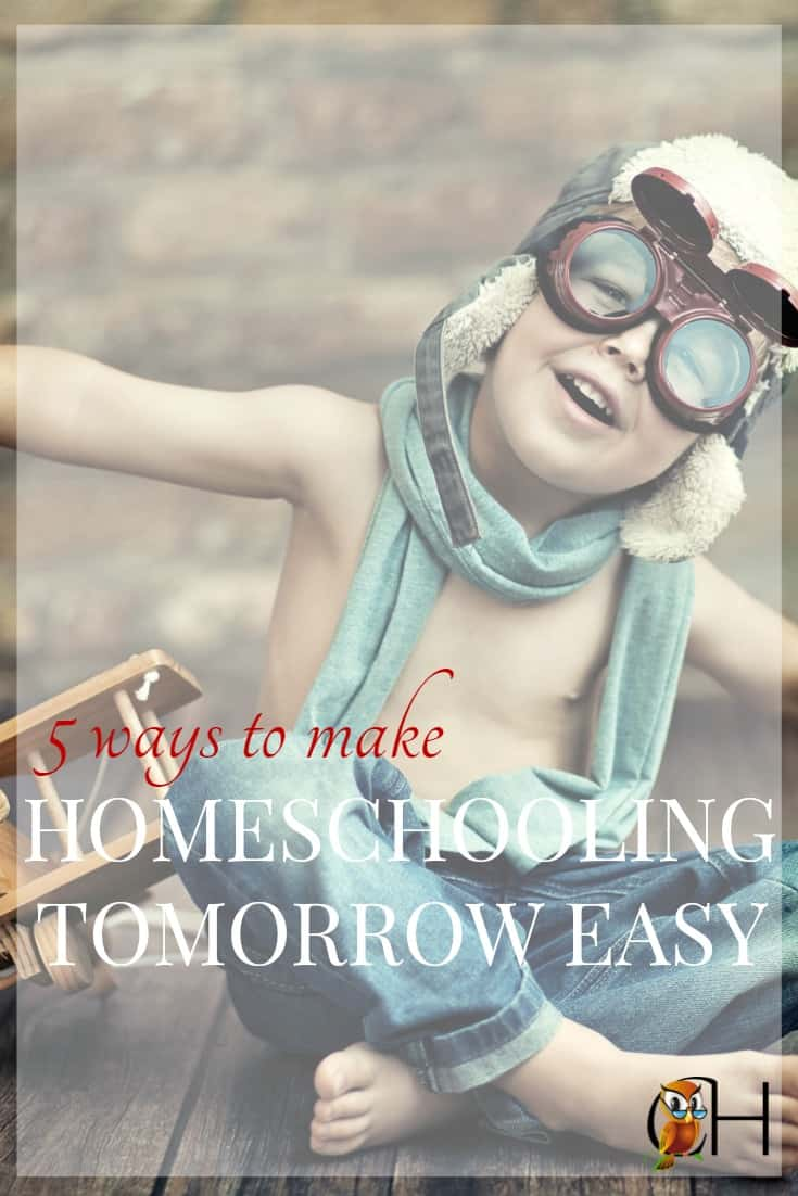 Save yourself hours of frustration! Learn how to prepare tomorrow's homeschool today in just a few minutes and enjoy the peace a well-run homeschool brings.