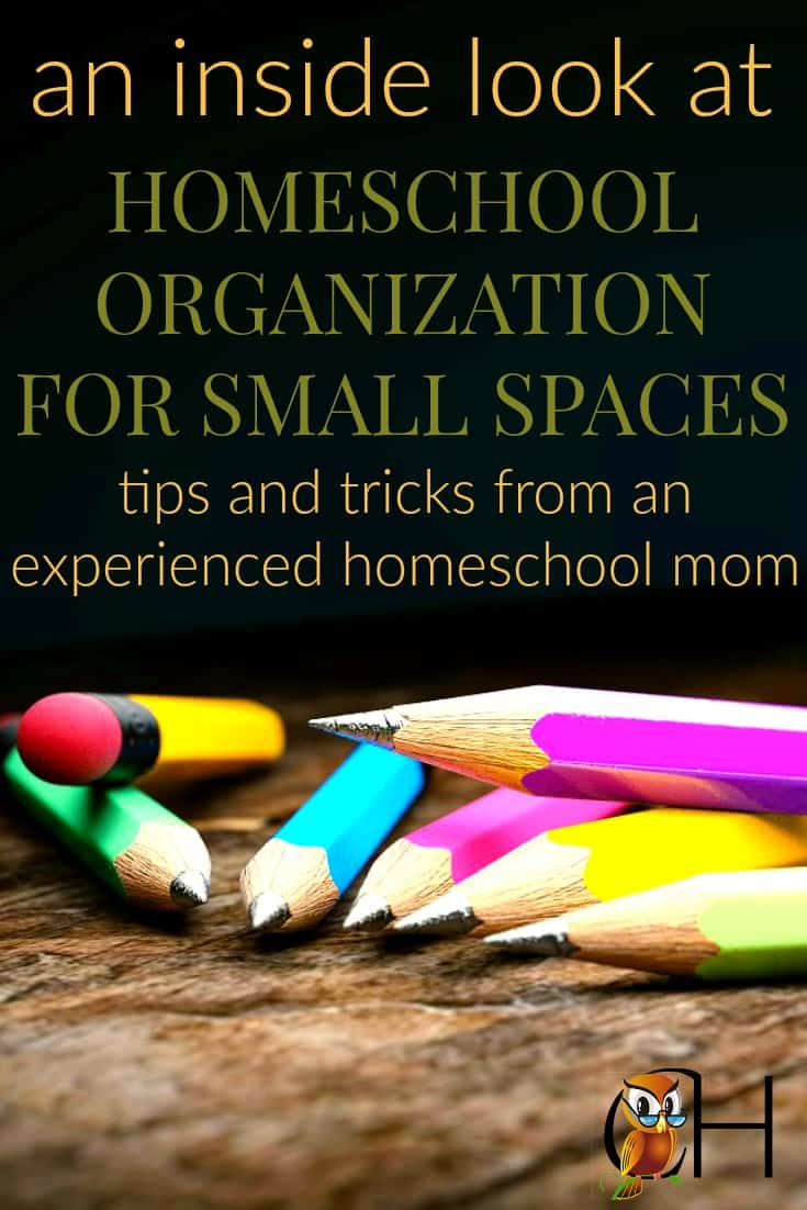 Learn about homeschool organization for small spaces with these four simple tips. You don't need a homeschool room nor do you need to live in chaos. Read to learn more!