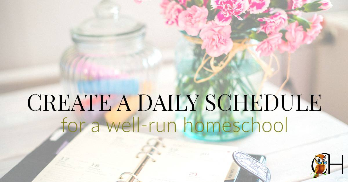 Creating a daily schedule provide the backbone to your well-run homeschool. It creates a daily routine the children know to follow from the time they wake up.