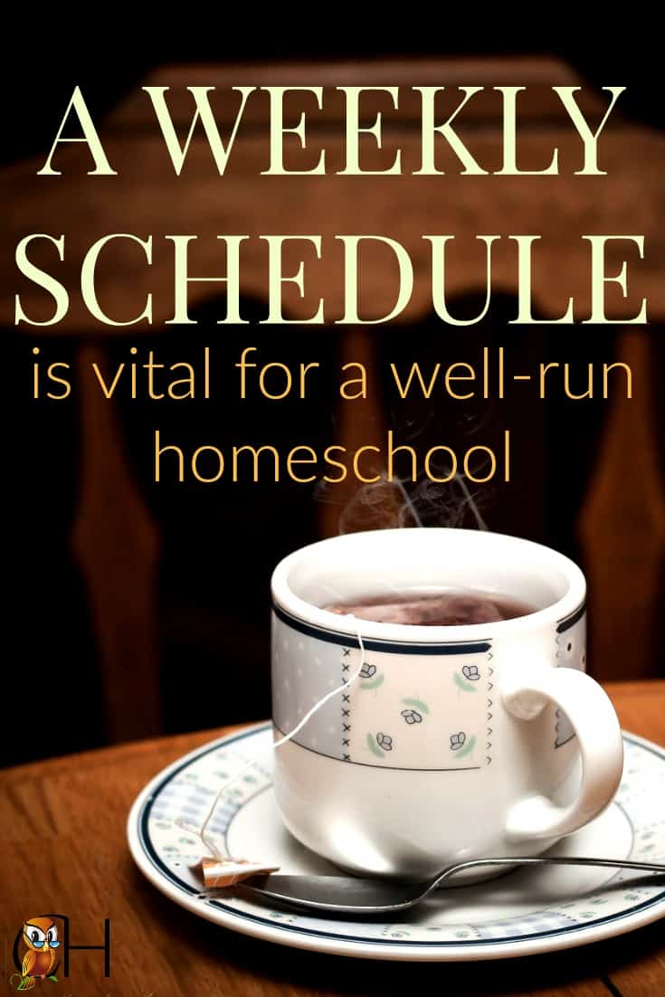 Trying to homeschool while you're running frantically all over town from one activity to another doesn't work. You need a weekly schedule, so create one today.