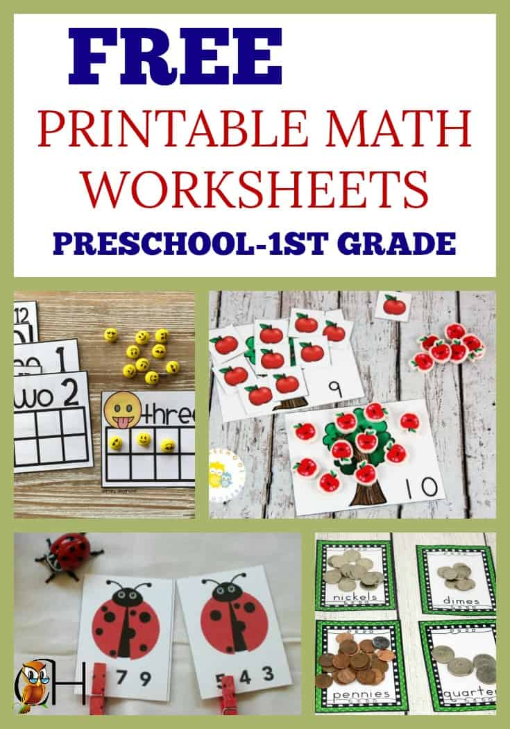 Here's a round-up of free printable math worksheets for preschool through first-grade!